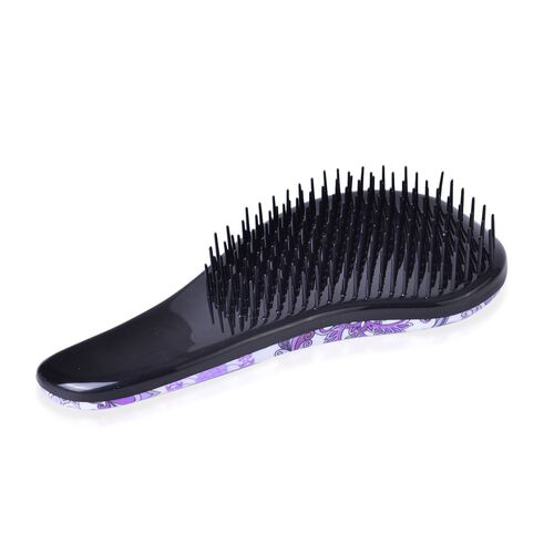 Set of 2 - Black, Purple and Multi Colour Floral Pattern Comb