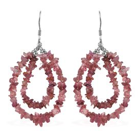 Pink Tourmaline Hook Earrings in Rhodium Overlay Sterling Silver 27.00 Ct.