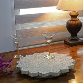 NAKKASHI - Saharanpur Collection - Hand Carved Lazy Susan Solid Wood Rotating Tray