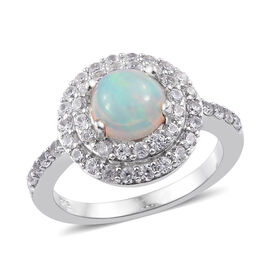 Ethiopian Welo Opal (Rnd), Natural Cambodian Zircon Ring (Size N) in Platinum Overlay Sterling Silver 1.750 C