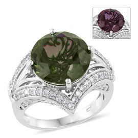 Alexandria Quartz (Rnd 10.25 Ct), Natural Cambodian Zircon Ring in Platinum Overlay Sterling Silver 11.000 Ct.