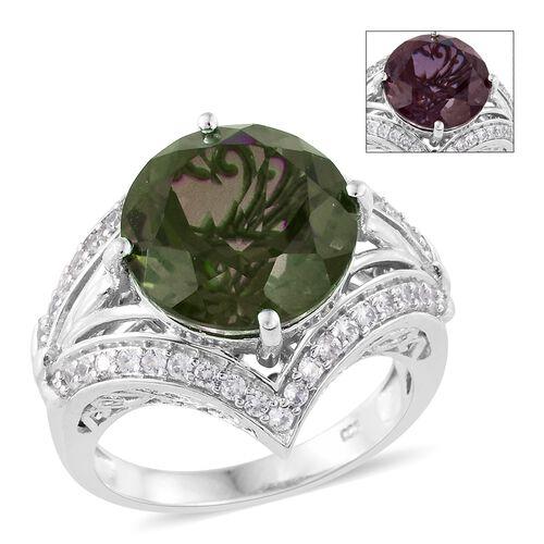 Alexandria Quartz (Rnd 10.25 Ct), Natural Cambodian Zircon Ring in Platinum Overlay Sterling Silver