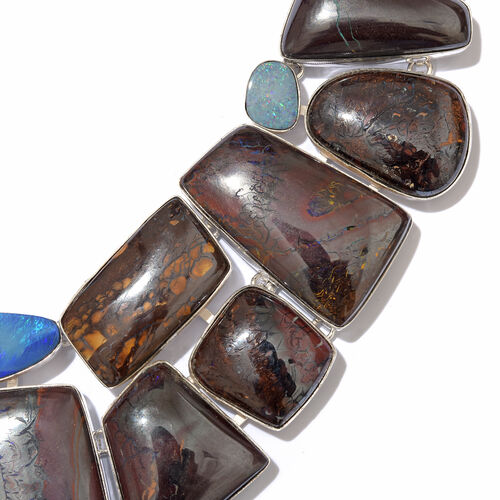 One Off A Kind- Boulder Opal Rock and Opal Double Necklace (Size 18 with 1 inch Extender) in Sterling Silver 551.600 Ct. Silver wt. 58.28 Gms.