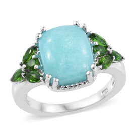 4.5 Ct Peruvian Amazonite and Russian Diopside Ring in Platinum Plated Sterling Silver 3.7 Grams