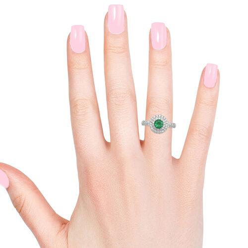 RHAPSODY 950 Platinum AAAA Kagem Zambian Emerald (Rnd), Diamond (VS/E-F) Ring 1.00 Ct.Platinum Wt 6.16 Gms