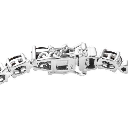 Elite Shungite (Ovl), Diamond Bracelet (Size 7) in Platinum Overlay Sterling Silver 7.05 Ct, Silver wt 10.83 Gms