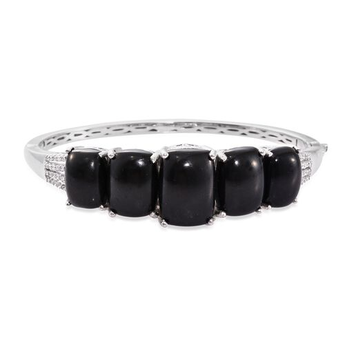 Shungite (Cush 11.25 Ct), Natural Cambodian Zircon Bangle (Size 7.5) in Platinum Overlay Sterling Si
