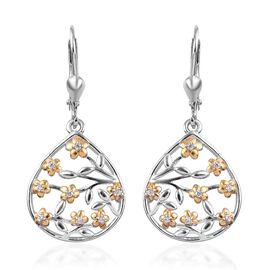 J Francis - Platinum and Yellow Gold Overlay Sterling Silver Floral Drop Lever Back Earrings Made wi