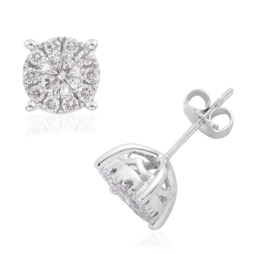 New York Close Out - 14K White Gold Diamond (Rnd) (I1-I2/G-H) Stud Earrings (with Push Back) 1.000 Ct.