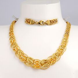 JCK Vegas Collection Byzantine Chain Necklace in 9K Gold 17 with 3 inch Extender