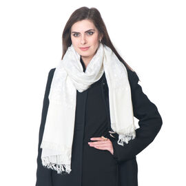 Limited Available - 100% Merino Wool White Paisley and Leaves Embroidered Off White Colour Scarf (Si