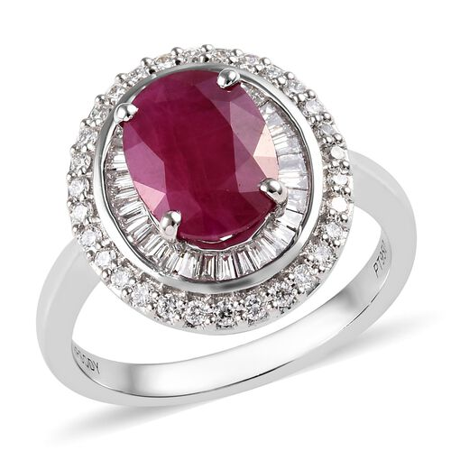 RHAPSODY 2.90 Ct AAAA Burmese Ruby and Diamond Double Halo Ring in 950 Platinum 6.59 grams VS EF