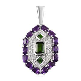 GP 5 Carat Russian Diopside and Multi Gemstone Drop Cluster Pendant in Platinum Plated Silver