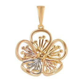 Designer Inspired- Tri Colour Gold Overlay Sterling Silver Floral Pendant