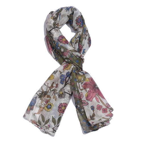 100% Mulberry Silk Olive Green, Pink and Multi Colour Hand Screen Floral and Leaves Printed Scarf (S