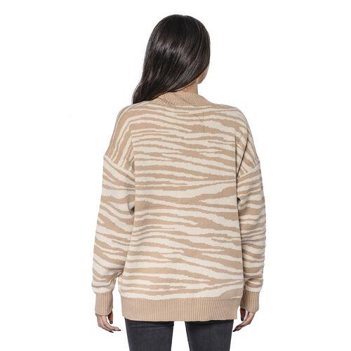 LA MAREY Beige Zebra Pattern Button-Closure Cardigan with Two Pockets