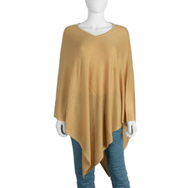 Limited Available - 100% Cashmere Pashmina Wool Poncho - Beige Colour (Free Size/103 Cm)