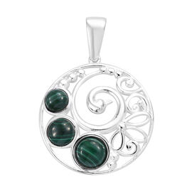 4.5 Ct Malachite Peacock Design Pendant in Sterling Silver 4.05 Grams