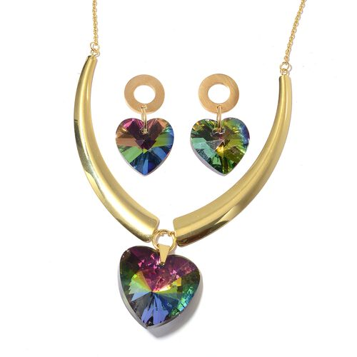 Set of 2 Simulated Mystic Topaz (Hrt) BIB Necklace (Size 20) and Earrings (with Push Back) in Yellow Gold Plated.