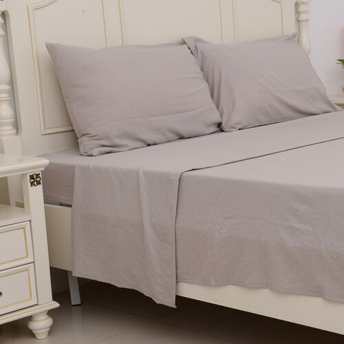 Set of 4 - Ultrasoft Stone Washed Taupe Colour Fitted Sheet (150x200+30 Cm), Double Duvet Cover (200x200 Cm) and 2 Pillow Case (75x50+5 Cm)