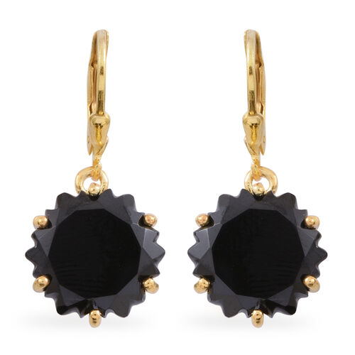 Fancy Cut Boi Ploi Black Spinel Lever Back Earrings in 14K Gold Overlay Sterling Silver 22.750 Ct.