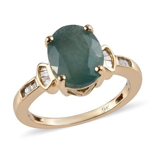 2.91 Ct AA Grandidierite and Diamond Ring in 9K Gold 2.60 Grams