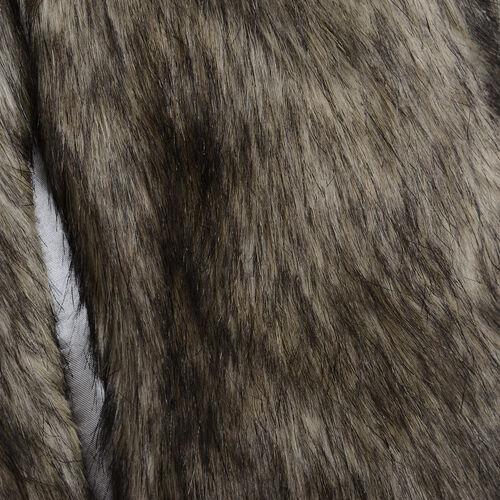 Close Out Deal Luxe Super Soft Helson Faux Fur Khaki and Black Colour Gilet (Size 16-18 )