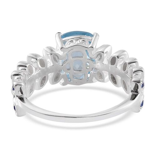 Sky Blue Topaz (Cush), Swarovski Sapphire Colour Crystal Ring in Sterling Silver 3.250 Ct.
