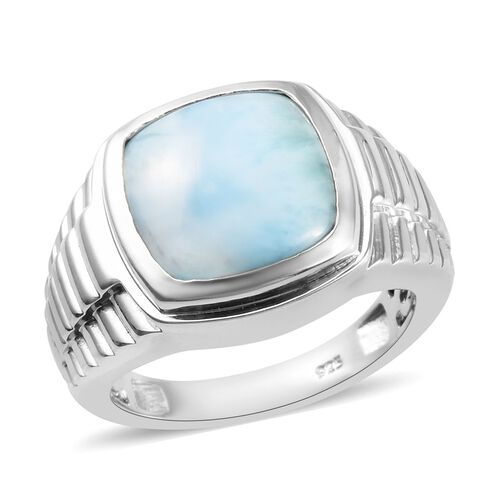 Larimar Bezel Set Solitaire Ring in Platinum Overlay Sterling Silver 8.37 Ct, Silver wt 9.40 Gms