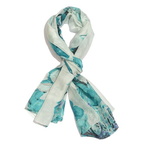 100% Mulberry Silk Turquoise, White and Multi Colour Handscreen Floral Printed Scarf (Size 200X180 C