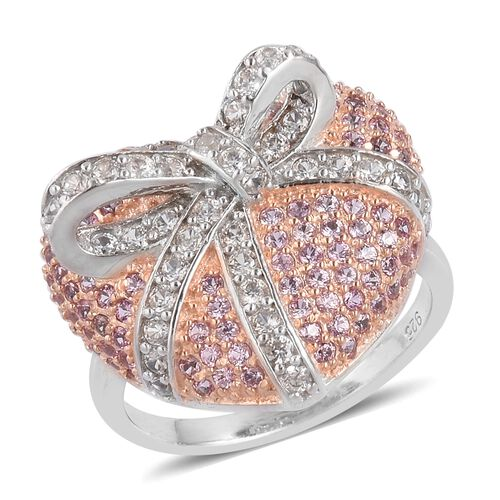 Designer Inspired - Ilakaka Pink Sapphire (Rnd), Natural White Cambodian Zircon Bowknot Tied Heart Ring in Rhodium and Rose Gold Overlay Sterling Silver 2.200 Ct. Silver wt 5.16 Gms.No.of Stone 184