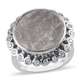Meteorite and Natural Cambodian Zircon Ring in Platinum Overlay Sterling Silver 21.74 Ct.