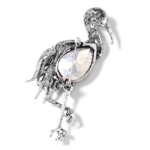 Simulated Rhodolite Garnet (Pear), Multi Colour Austrian Crystal Crane Brooch in Silver Tone