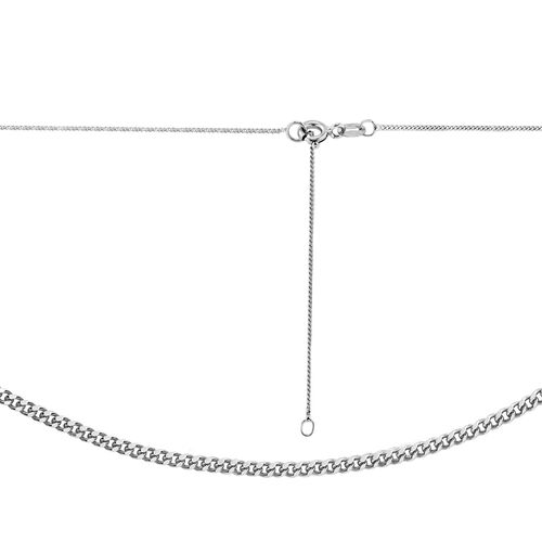 ILIANA 18K White Gold 30 PG Diamond Cut Curb Chain (Size 18)