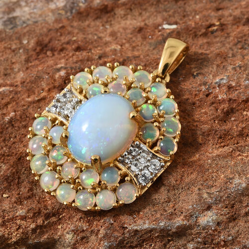 Limited Edition- Ethiopian Welo Opal (Very Rare Size Ovl 12x10mm), Natural Cambodian Zircon Pendant in 14K Gold Overlay Sterling Silver 5.250 Ct.