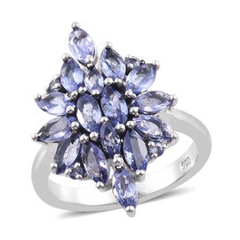 2 Carat Tanzanite Cluster Ring in Platinum Plated Silver
