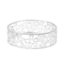 LucyQ Splash Bangle in Rhodium Plated Sterling Silver 27.14 Grams 7.5 Inch