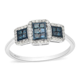 Blue Diamond and White Diamond Ring in Platinum Overlay Sterling Silver 0.50 Ct.