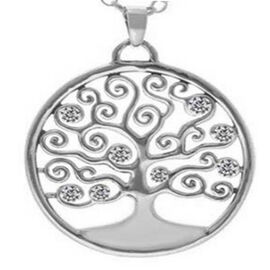 ELANZA Simulated Diamond Tree-of-Life Pendant with Chain (Size 18) in Sterling Silver