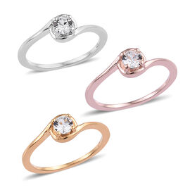 Set of 3 J Francis White Crystal From Swarovski Ring in Triple Tone Plated Sterling Silver