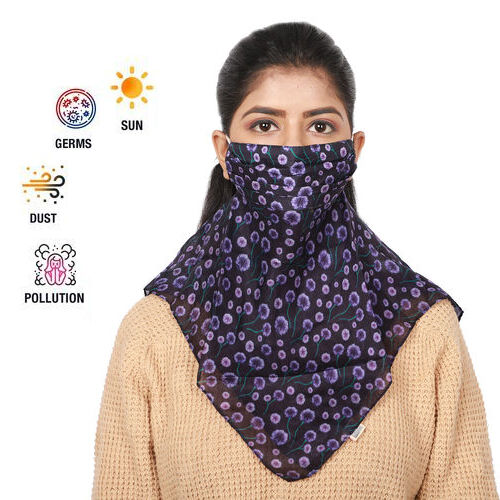 2-in-1 Pattern 100% Silk Soft Feel Scarf and Protective Face Covering - Black and Purple