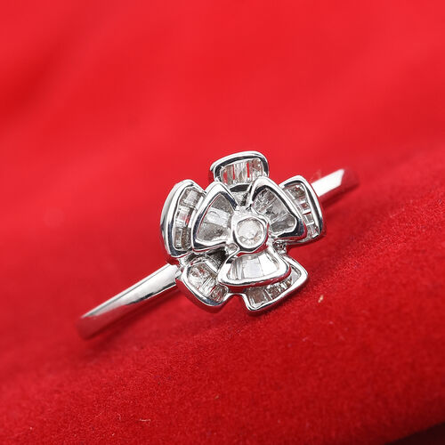 Diamond Floral Ring in Platinum Overlay Sterling Silver 0.25 Ct.