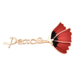 TJC Poppy Design - Enamelled Poppy Flower Brooch in Gold Plated