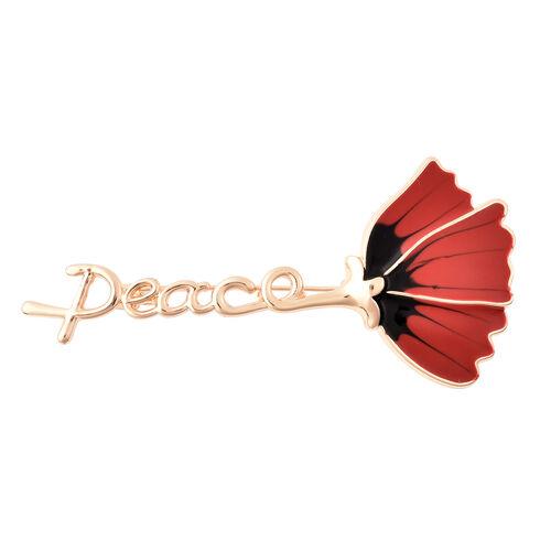 TJC Poppy Design - Enamelled Poppy Flower Brooch in Gold Tone