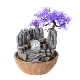Mystical Mountain Water Fountain with Rotating Magical Light Globe (Size 30x24 Cm)