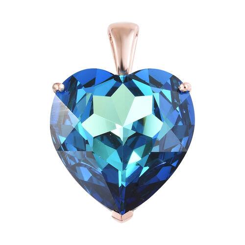 J Francis - Crystal From Swarovski - Bermuda Blue Crystal (Hrt 28 mm) Heart Pendant in Rose Gold Ove