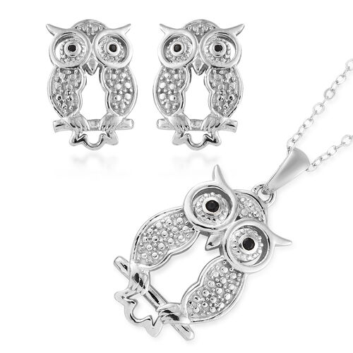 Set of 2 - Boi Ploi Black Spinel (Rnd) Owl Pendant With Chain and Earrings (With Push Back) in Platinum Overlay Sterling Silver