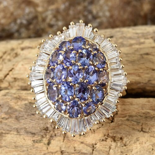 9K Yellow Gold AA Tanzanite (Ovl), Natural Cambodian Zircon Cluster Ring 5.25 Ct.
