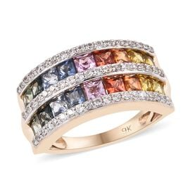 9K Yellow Gold AAA Rainbow Sapphire (Princess), Natural Cambodian Zircon Ring (Size N) 2.75 Ct.Gold Wt 4.75 G