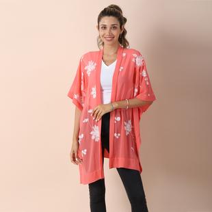 JOVIE Chiffon Floral Embroidery kimono (Size:90x75 cm)- Carol & White